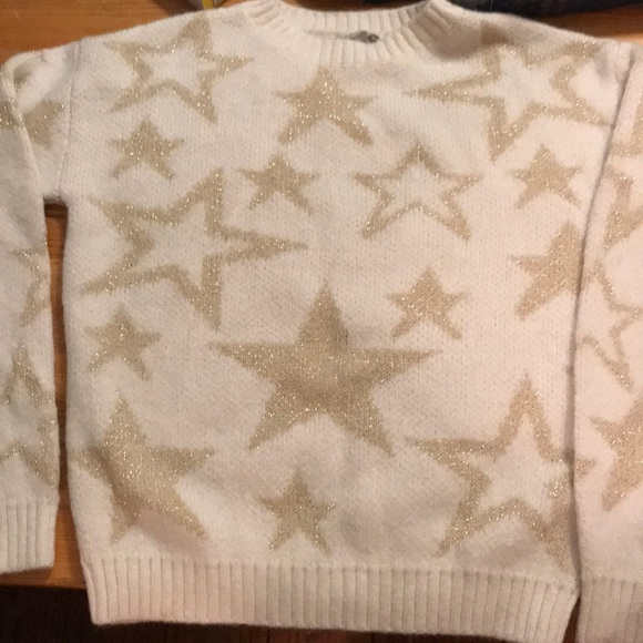 Urban Outfitters white sweater with gold stars. XS
